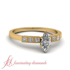 .85 Ct Certified Marquise Cut Diamond Milgrain Grid Engagement Ring For Women