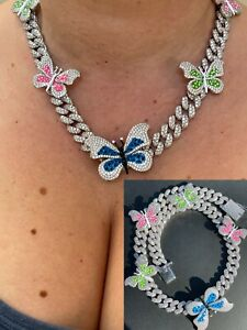 Real Hip Hop 12mm Miami Cuban Chain Choker Necklace Butterfly Iced Silver Choker