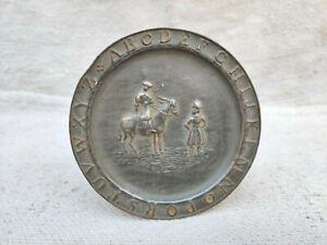Antique Tin Alphabet ABC Plate Decorative Collectible Collectors Tin Plate Old