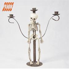 Gothic Skull Skeleton Halloween Punk Table Centrepiece Candle Stick Holder Metal