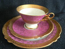JLMENAU VONHAMMBERG POZELLAN GERMANY TEA CUP AND SAUCER TRIO PINK FANCY HANDLE N