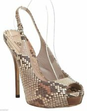 GUCCI Platform Sandal Brown Leather Peep Toe Ankle Strap Snakeskin 37