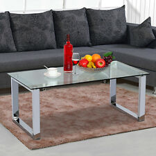 Modern Chrome Glass Coffee Table Metal Base High Gloss Glass Side End Table New