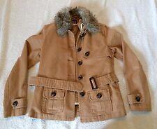 Gap Womens Brown Sherpa FAUX FUR collar Lined  Trucker Jacket Size xs w/ vest