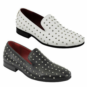 Mens Leather Lined Metal Studded Spiked Designer Style Loafers Smart Retro Shoes