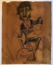 "1960s~RINGO STARR~INK WATERCOLOR~ART SKETCH CHARICATURE DRAWING~BEATLES~16""x20"""