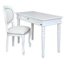 Escritorio de oficina madera blanco con silla laqueada blanca, mesa de despacho