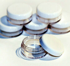 Clear Round Travel Sample Pots Jars Pieces Containers 5ml & White Lids jdw