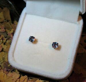 Beautiful natural Indigo Purple Blue Spinel 4.5mm yellow gold stud earrings ⛎