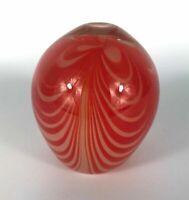 Vintage Arte Murano ICET Egg Art Glass Paperweight Orange Mid Century Decor