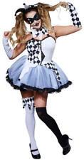 Ladies Adult Womens Jester Harlequin Clown Halloween Circus Fancy Dress Costume Jesterella Lady Large 810993