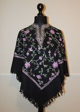 Kashmir Poncho Black with Lilac all-over - New - India - Ethnic (item xp11a)