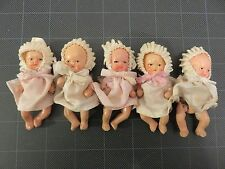 """Dionne Quintuplet Bisque Dolls Infant Set 3"""" Dressed w/Cribs Japan"""