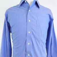 BROOKS BROTHERS 346 NON IRON SOLID BLUE BUTTON UP DRESS SHIRT MENS SZ 17 4/5