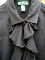 RALPH LAUREN S RUFFLED SOLID BLACK SLEEVELESS BOW CAREER BLOUSE WOMEN SHIRT SOFT