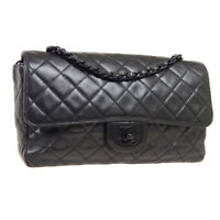 CHANEL Classic Single Flap Medium Chain Shoulder Bag 4146427 Black Leather 38803