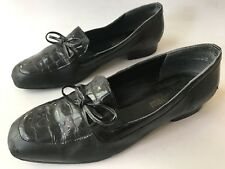 MAGDESIAN Black Leather Slip On Pumps Low Heels Loafers Shoes Women's Size 8 M