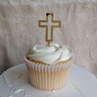 Cross Cupcake topper, Christening, Baptism, Holy Communion Cake Decor 6Qty