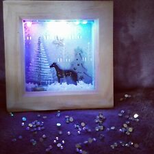 Greyhound Christmas Decoration Whippet Gift Shadow Box Frame Light Up! FREE P&P