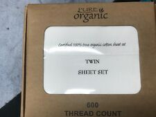 100% Organic Cotton 3pcs Bed Sheet Set 600 Tc, White Stripe Twin Size