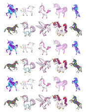 30 x Unicorn Horse Stand Up Cupcake Toppers Edible Wafer Paper