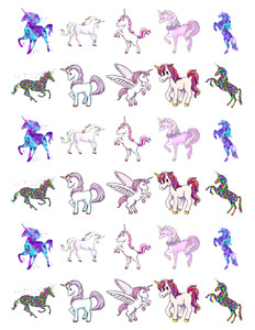 30 x Unicorn Horse Stand Up Cupcake Toppers Edible Wafer Paper Fairy Cake Topper