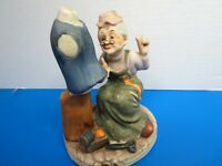 """Vintage Bisque Porcelain Figurine Woman Seamstress 6"""" Tall Repaired"""