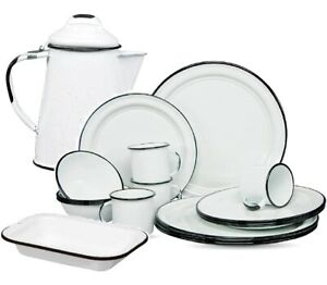 Enamel Camping 22-Piece Tableware Set Vintage Style 3 Different Colors