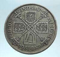 1931 Great Britain UK King George V United Kingdom Big SILVER FLORIN Coin i78331