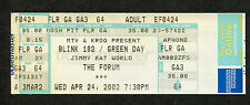 Original 2002 Blink 182 Green Day Unused Full Concert Ticket Los Angeles Forum