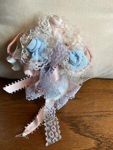 Vintage Blue Pink Baby Sock Corsage