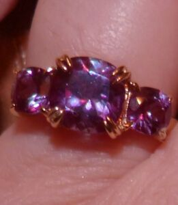 10 KT YG 3.80 CTW COLOR CHANGE LAB GROWN RUSSIAN ALEXANDRITE RING SIZE 8 SALE