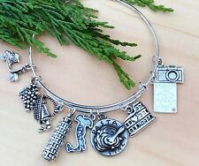ITALY Vacation wine~Pasta & more Silver charms Expandable Bangle