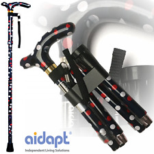 Aidapt Folding & Extendable Patterned Walking Stick - Polka Dot - *QUALITY*