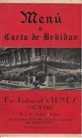 """Vintage Bar-Restaurant VIENES """"VICTORIA"""" Menu, Del Hotel Nacional Havana Cuba"""
