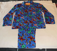 Marvel Comics The Avengers Mens Blue Printed Flannel Pyjama Set Size L New