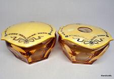 Cambridge Amber Glass Dresser Set Celluloid Lids c1940s Hair Receiver Powder Pot