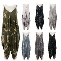 New Womens Italian Tiedye Print Spaghetti Strap V Neck Lagenlook Jumpsuit Dress