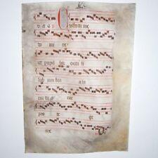 MEDIEVAL ILLUMINATED Manuscript Vellum 1440 AD Gregorian Chant Choral Music Fine