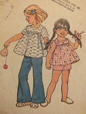 VTG 73 SIMPLICITY 5649 Tdlr Girls Smock-Top Bell Btm Pants/Shorts PATTERN 2/21B