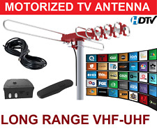 LONGEST RANGE OUTDOOR HD TV ANTENNA MOTORIZED AMPLIFIED HIGH GAIN 105 dB UHF VHF