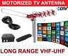 LONGEST RANGE OUTDOOR HD TV ANTENNA MOTORIZED AMPLIFIED HIGH GAIN 105 dB UHF VHF