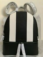 NWT Michael Kors Rhea Zip Medium Leather Backpack $298 BLACK/OPTWHT ORIGINAL PAC