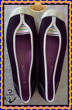 7.5 Black w Multi-Colored Stripes  Boat Summer SlipOn Shoes Flat Rubber Sneaker