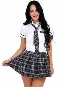 Women Schoolgirl Cosplay Costume Fancy Dress Crop Top Mini Short Skirts Outfits