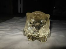 Vintage Goebel Germany Clear Glass Owl Figurine Sculpture Paperweight Textured