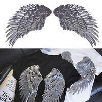 Paar Flügel Aufnäher Gestickt Pailletten Aufbügler Engelsflügel Patch Bügelbild