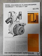 ORIGINAL PROSPEKT DDR 1972 DIESEL AGGREGAT CUNEWALDE 1 VD 8/8,5-1 SW 8,5 PS