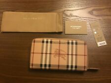 New Auth Burberry Elmore Haymarket Nova Check Plaid Leather Ziparound Wallet 625