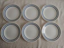 "Corelle Vitrelle Cafe Blue Set Of 6 Dessert Bread Plates 6 3/4"" Blue Rim ""NEW"""